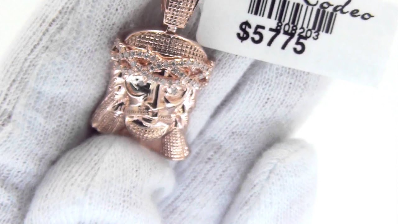 10K Rose Gold Diamond Jesus Piece Pendant Micro Hip Hop Jewelry