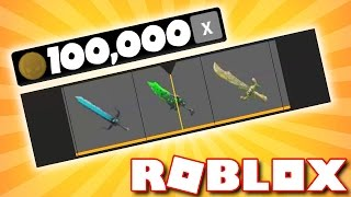 SPENDING 100k COINS IN ROBLOX ASSASSIN!! (Insane Exotic Knife Unboxing)