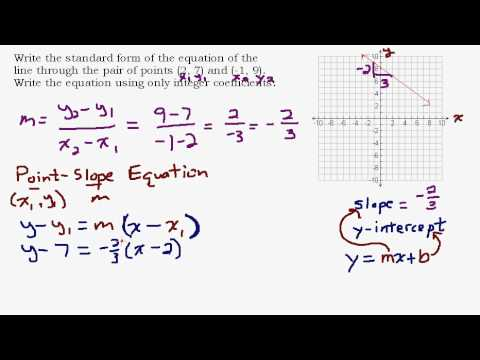 Given Two Points Find The Standard Form Equation Of A Line Youtube