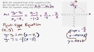 بالنظر إلى نقطتين تجد النموذج القياسي معادلة خط