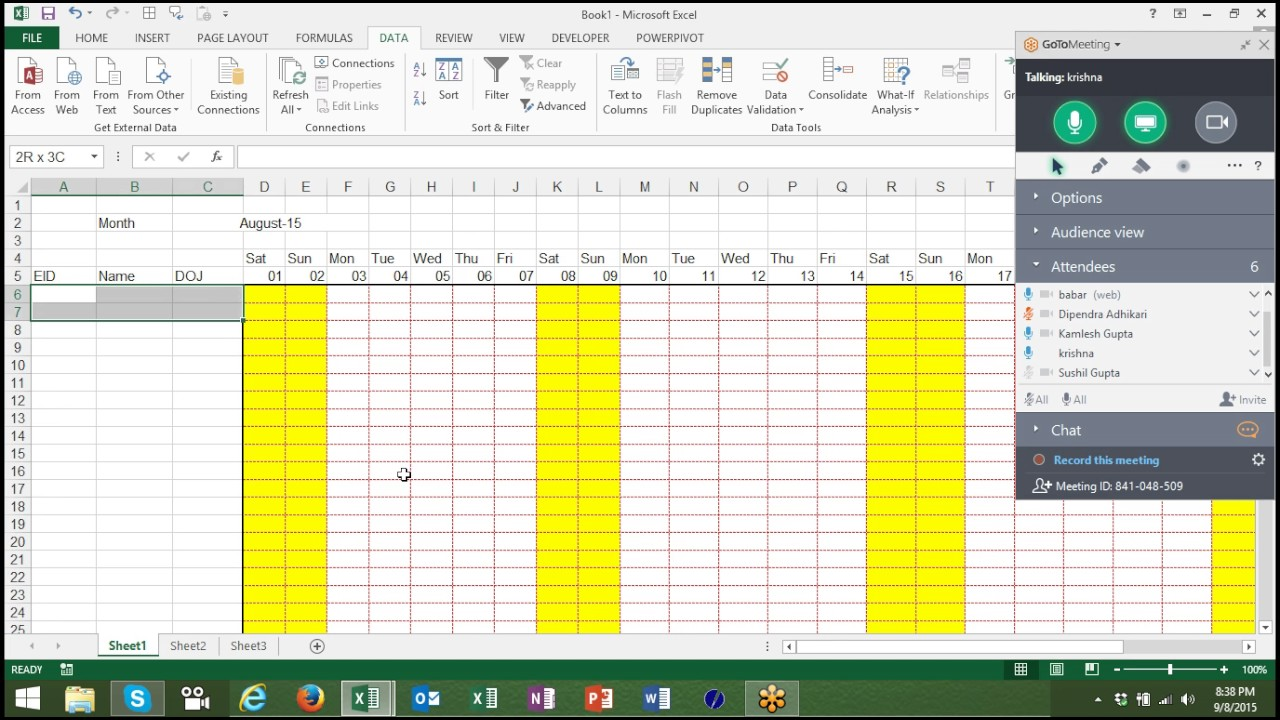594 automated attendance sheet in excel