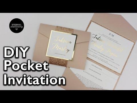 DIY Gold Foil Pocket Folio Wedding Invitation with Template - Wedding Invitations
