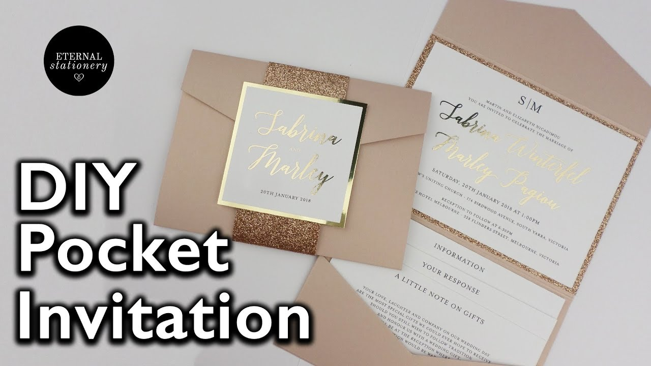 DIY Gold Foil Pocket Folio Wedding Invitation with Template ...