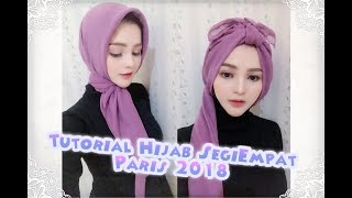 Tutorial hijab segi empat paris simple trend 2018