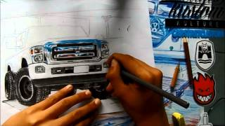 DRAWING CAR |Desenhando Carro Ford F350 - L.A Design Crew