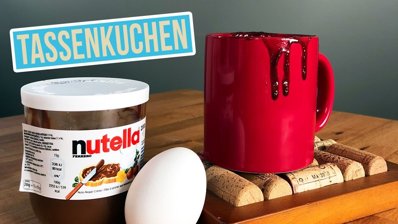 Nutella Tassenkuchen Mit Nur 2 Zutaten Schokoladen Kuchen Schnell