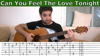 Fingerstyle Tutorial: Can You Feel the Love Tonight - Guitar Lesson w/ TAB