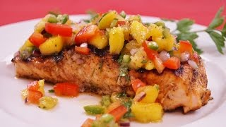 Grilled Salmon With Mango Salsa - Pan Grilled Salmon Recipe - Diane Kometa - Dishin With Di  # 150
