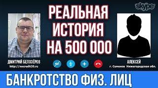 Списали долг в 500 000 рублей в процедуре банкротства.