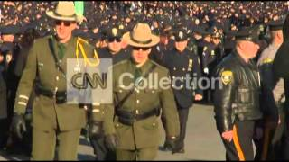 NYPD OFC RAMOS FUNERAL-POLICE OFFICERS ARRIVE