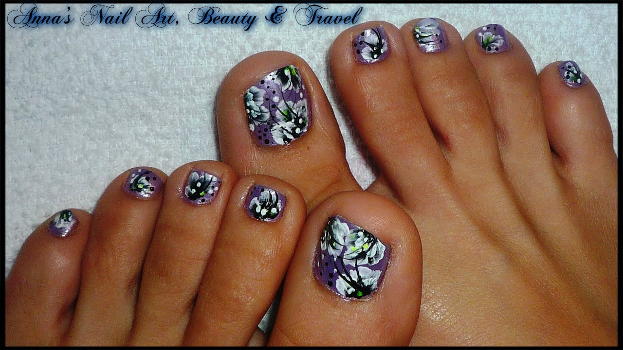 One stroke black and white floral Toe Nail Design - YouTube