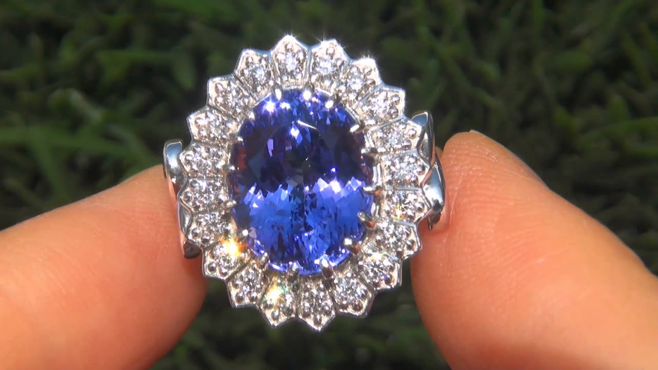 ring white halo grade diamond investment certified tanzanite gia engagement gold double