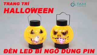 Bí ngô đèn Led điện tử dùng pin có quai xách mini trang trí Halloween - Tâm Shoppe