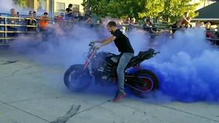 Mcgrath bike night burnout contest 2017. Awesome Ninja burnouts , Harleys, and a moped
