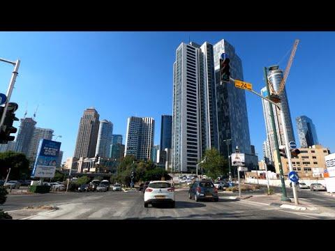 4K Midday Sun Driving Tel Aviv Israel 2020 נסיעה בצהריים בתל אביב ישראל