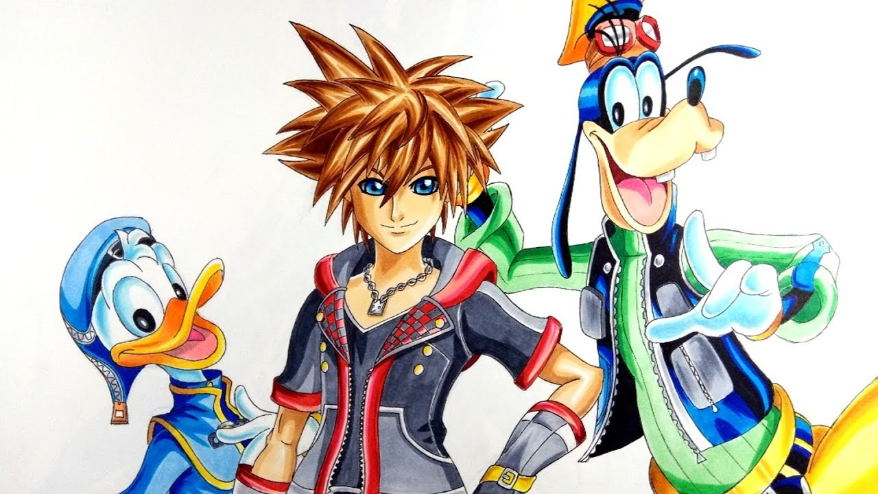 Drawing Sora Donald And Goofy Kingdom Hearts 3 Youtube