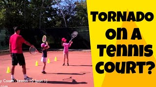 Tennis lesson with little kids - part 1 (lesson 10) - with tornado :)