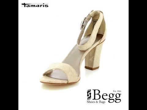 911d542e71bc Tamaris Heiti 28397-20-454 Ivory Heeled Sandals - YouTube