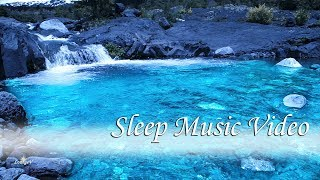 Sleep Music with Dreamy Waterfall at Night - Relaxing Music Background for Sleeping, 8 Hours