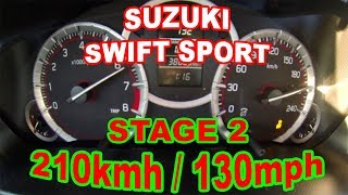 Suzuki Swift Sport ZC32S 1.6 DTN Stage 2 from 0 to 210 kmh (0 to 130 mph) acceleration top speed