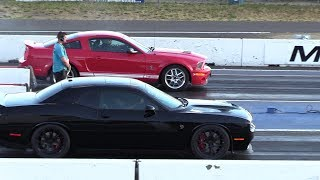 Stick Shift Shelby smokes Hellcat Challenger- muscle cars racing