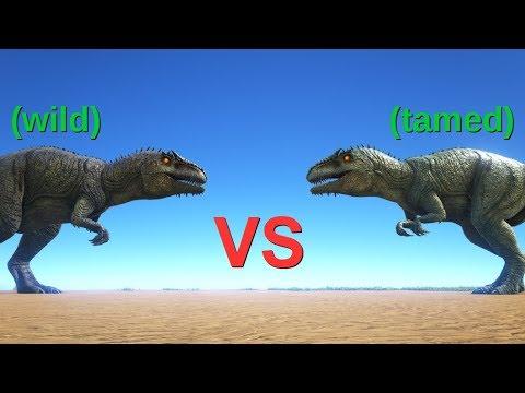 WILD Giganotosaurus vs TAMED Giganotosaurus || ARK: Survival Evolved || Cantex