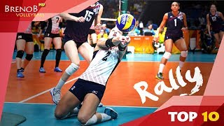 TOP 10 BEST and LONGEST Women's Volleyball Rallies | Volleyball Rally ● BrenoB ᴴᴰ