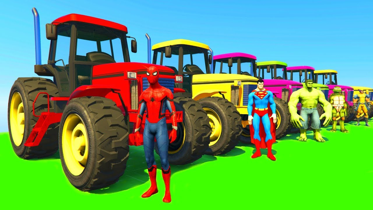 Learn Colors with Tractor & Jetski w Superheroes Cartoon Animation for Kids & Babies Nursery