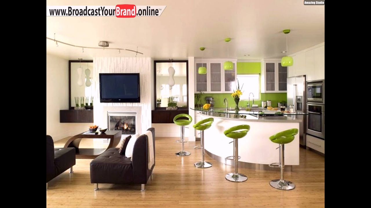 wohnzimmer kuche in einem raum optisch getrennt grasgr n braun youtube. Black Bedroom Furniture Sets. Home Design Ideas