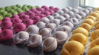 Цветные пельмени с натуральными красителями🍀самый лучший рецепт теста для пельменей🍀 Dumplings