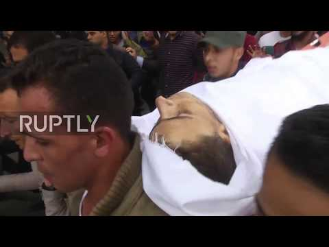 State of Palestine: Crowds attend funeral of 29 y.o. Palestinian killed at Israeli-Gaza border