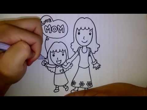 สอนวาดการ์ตูนวันแม่ แม่ลูก เดินจูงมือ EP 2