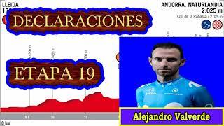 Declaraciones Alejandro Valverde tras etapa 19 vuelta a España 2018 tran perder 1 minuto con Yates
