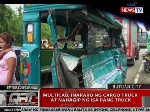 QRT: Multicab, inararo ng cargo truck at nahagip ng isa pang truck sa Butuan City