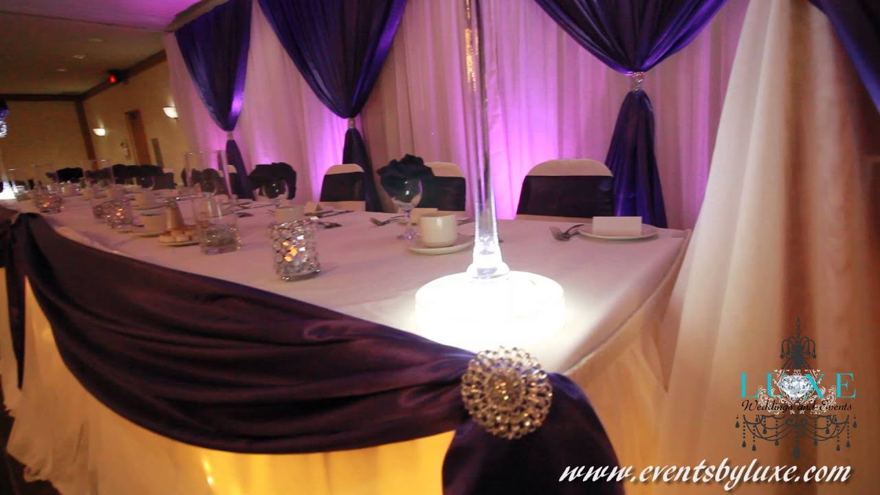 White and purple wedding decor by luxe weddings and events for Decoration 4 wedding