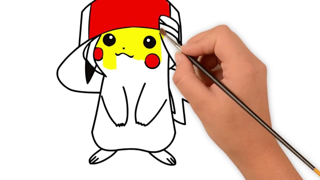 Mudah Menggambar Dan Mewarnai Pikachu Youtube