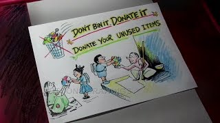 How to Draw Donate UnUsed stationery Items to Victims Poster Drawing