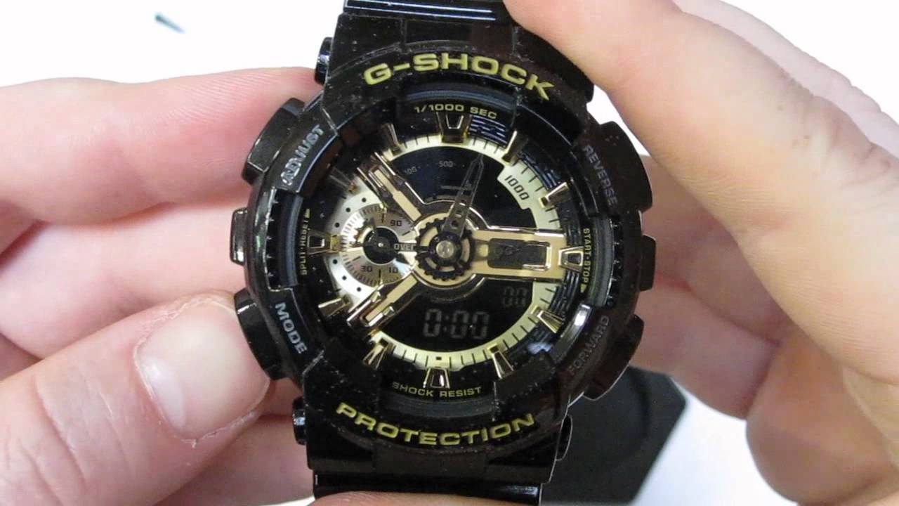 Casio G-Shock GA-110 Watch Unboxing - Black/Gold - GA-110GB-1 .