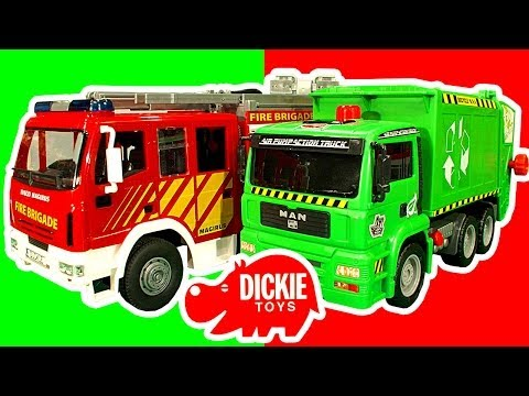Dickie Toys Fire Engine Garbage Truck Train Lightning McQueen Toy Crash Testing Mega Review