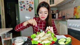MUKBANG ВАРЕНИКИ С КАРТОШКОЙ ГРИБАМИ И ЛУКОМ СОУС не ASMR eating show 먹방 Dumplings