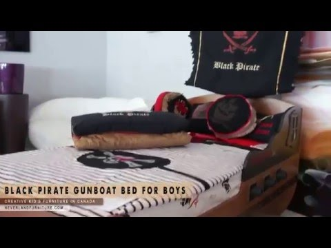 Black Pirate Gunboat Bed For Young Boys