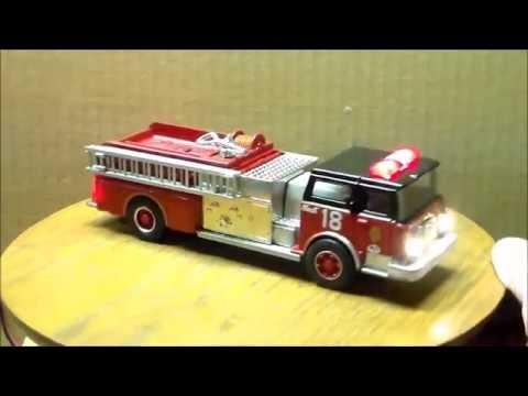 Fire truck on wooden pedestal