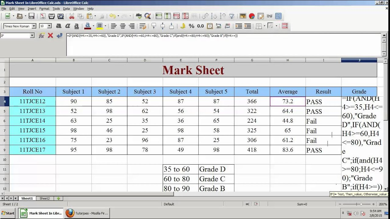 How To Find Grade Of Marks In LibreOffice Calc Tamil