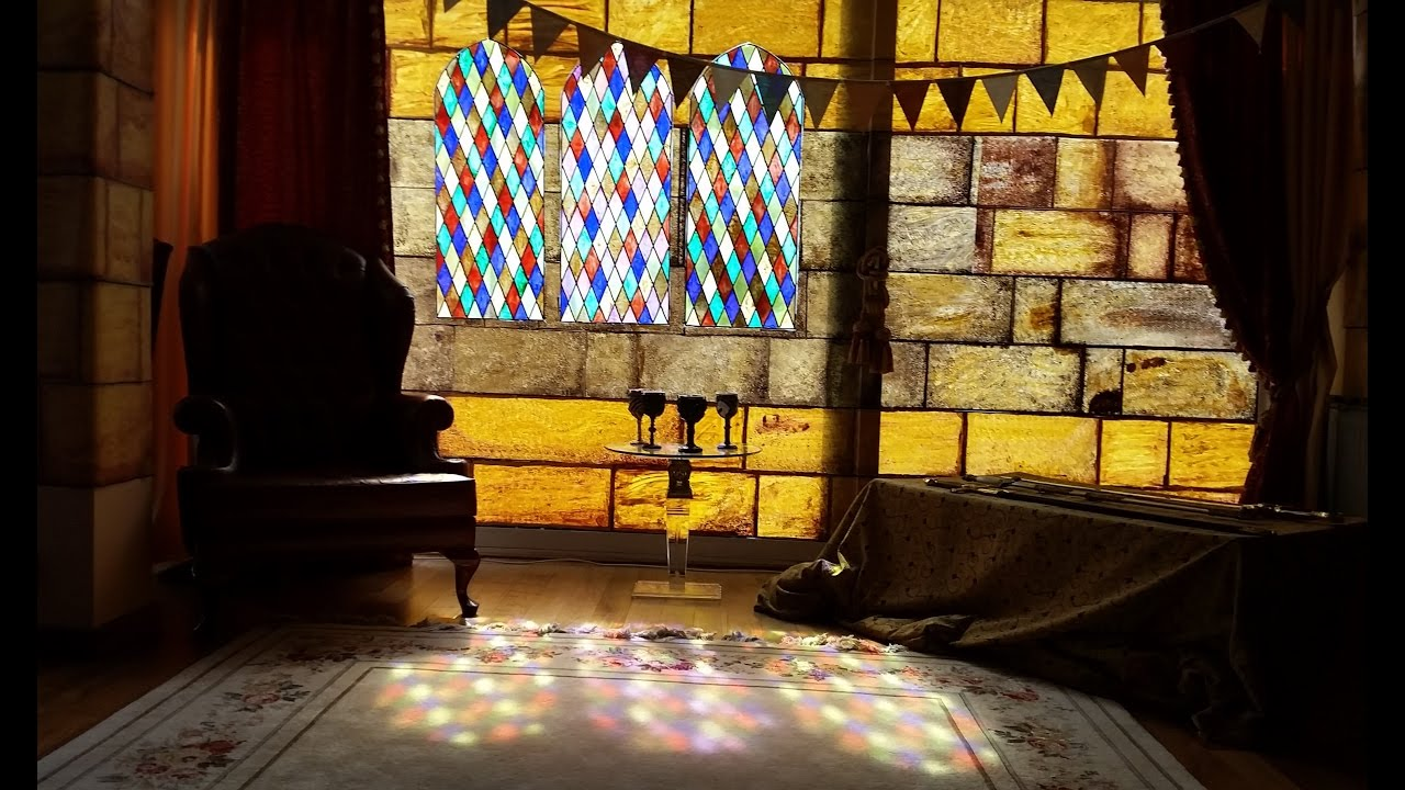 Medieval Party Decorations With DIY Stained Glass Windows Castle Walls Chandelier HD