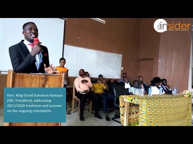 His Excellency King-David Solomon Kamasa (SRC President), addressing freshers