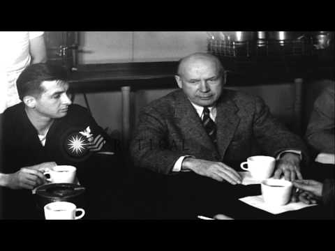 United States Secretary of Navy Charles Thomas has coffee in PO mess aboard St. P...HD Stock Footage