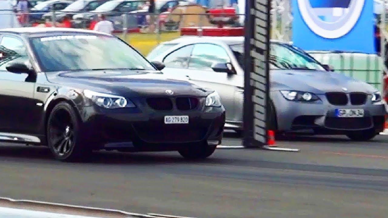 Bmw M5 E60 Vs Bmw M3 E92 Drag Race Viertelmeile Rennen Acceleration Syndikat