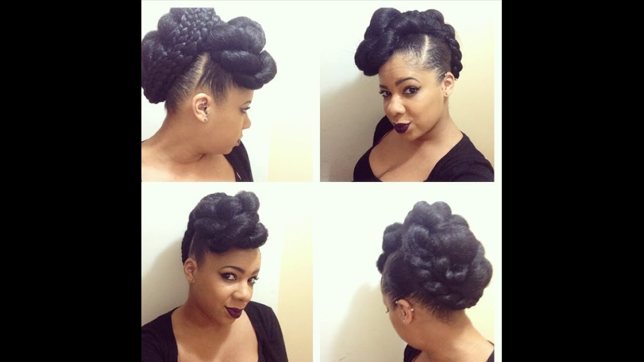 Natural Hairstyle: Faux Hawk Tutorial Using Braiding Hair - YouTube