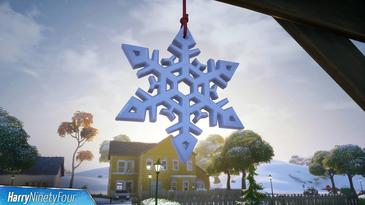Destroy Snowflake Decorations Locations Guide Fortnite Winterfest Youtube