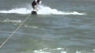Daniel Wake boarding on Benbrook Lake